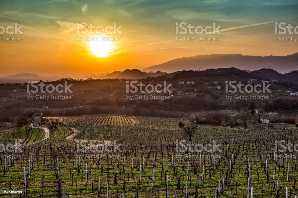 San Pietro di Felletto-tramonto stock photo