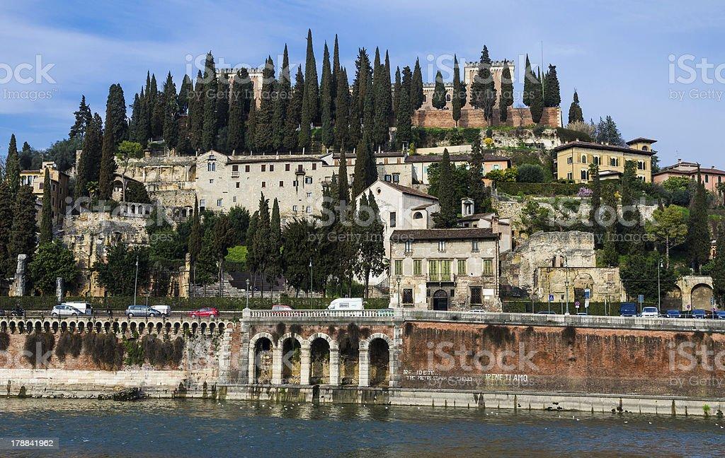 San Pietro Hill and Roman Theater in Verona, Italy royalty-free stock photo
