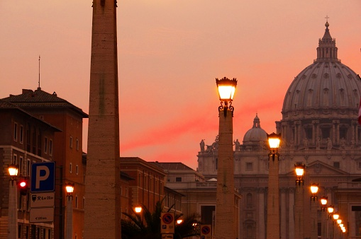 Rome, Italy - August 27, 2011: Night shot of the majestic St. Peter's Basilica in Rome, in Vatican City, symbol of the Christian religion in the world.