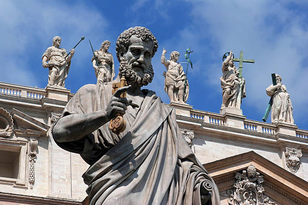 san pietro's sculptures - peter the apostle stock photos and pictures