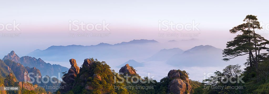 San Qing Shan early morning stock photo