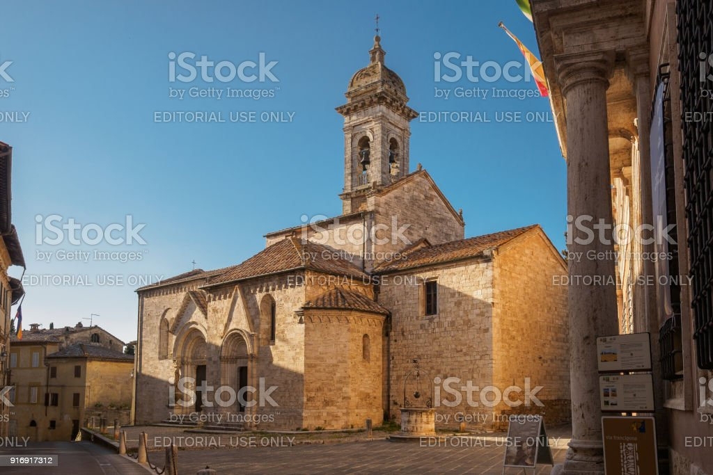 San Quirico Cathedral in San Quirico d'Orcia. stock photo