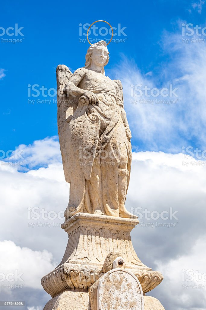 San Rafael Archangel statue stock photo
