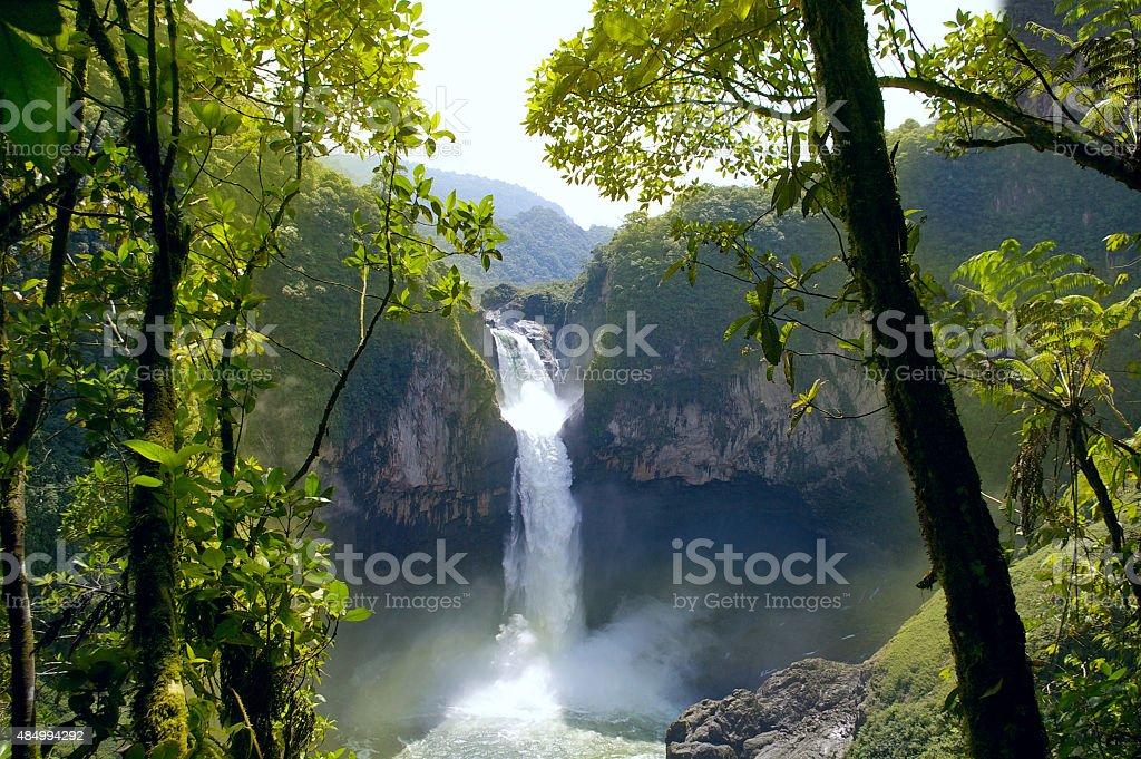 San Rafael Falls. The Largest Waterfall in Ecuador stock photo