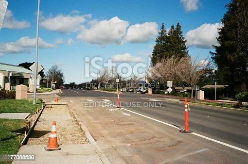 San Ramon, California, United States - February 01, 2019:  Cones are visible under a cloudy sky along San Ramon Valley Boulevard, a main road in San Ramon, California, February, 2019