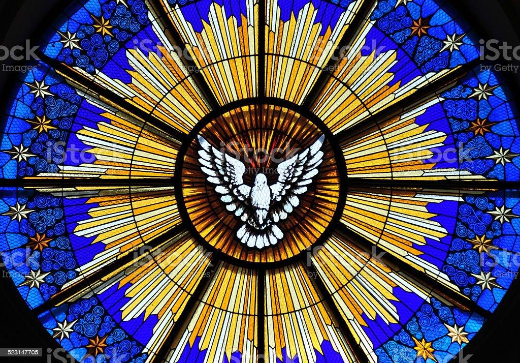 San Salvador, El-Salvador: Cathedral rose window stock photo