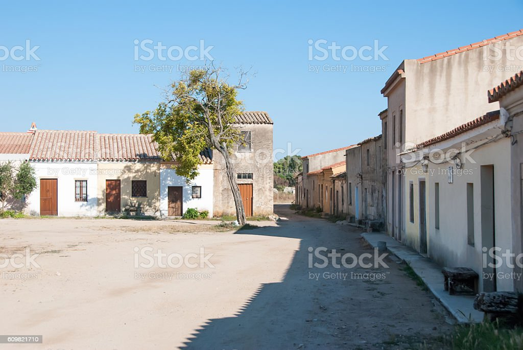 San Salvatore di Sinis, Sardegna, Italy. stock photo