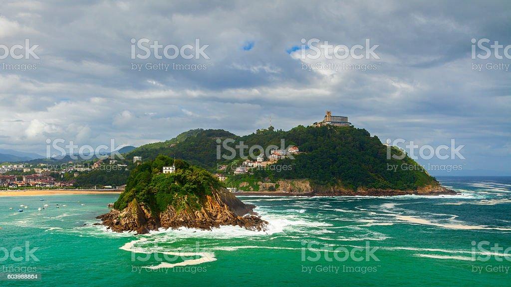 san sebastian bay view stock photo
