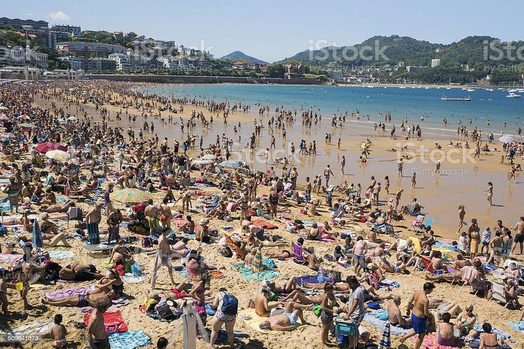 San Sebastian crowded beach Spain stock photo