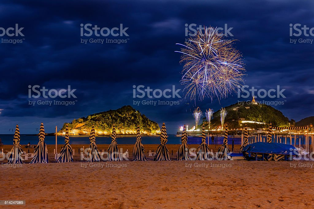 San Sebastian fireworks stock photo