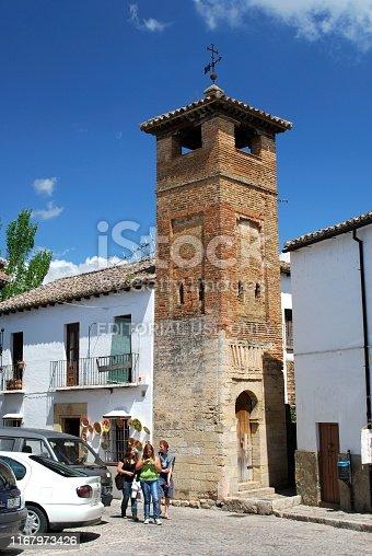 View of the San Sebastian Minaret in the old town, Ronda, Malaga Province, Andalucia, Spain, Europe.