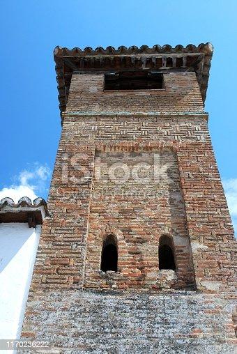 View of the San Sebastian Minaret in the old town, Ronda, Malaga Province, Andalucia, Spain, Europe