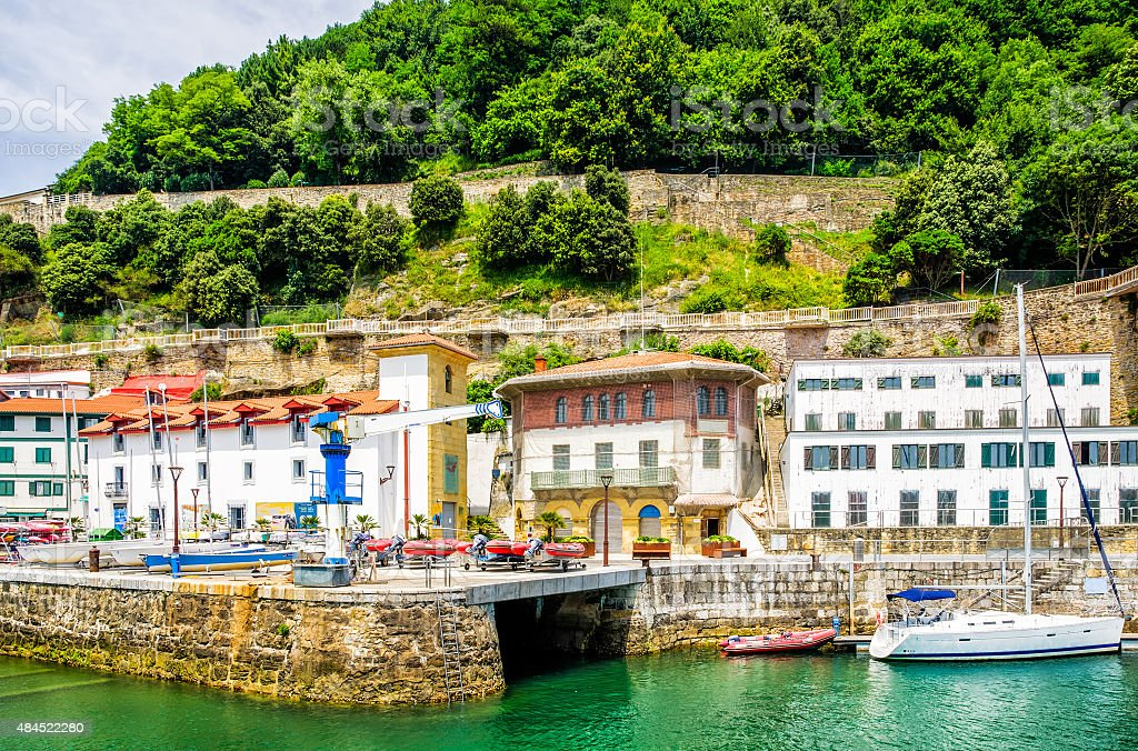 San Sebastian, old town and harbour stock photo