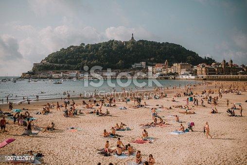 A view over La Concha beach in San Sebastian, Spain