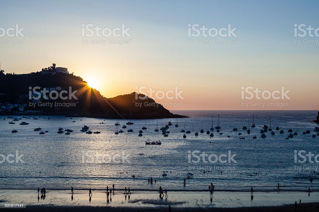 San Sebastian sunset stock photo