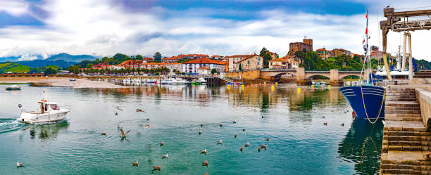 San Vicente de la barquera village in Cantabria,Spain. stock photo