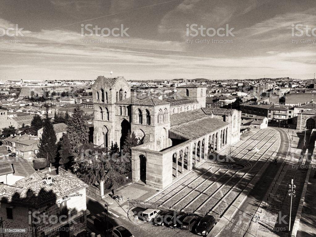 San Vicente's romanic basilica church with columns at Ávila, Spain. stock photo