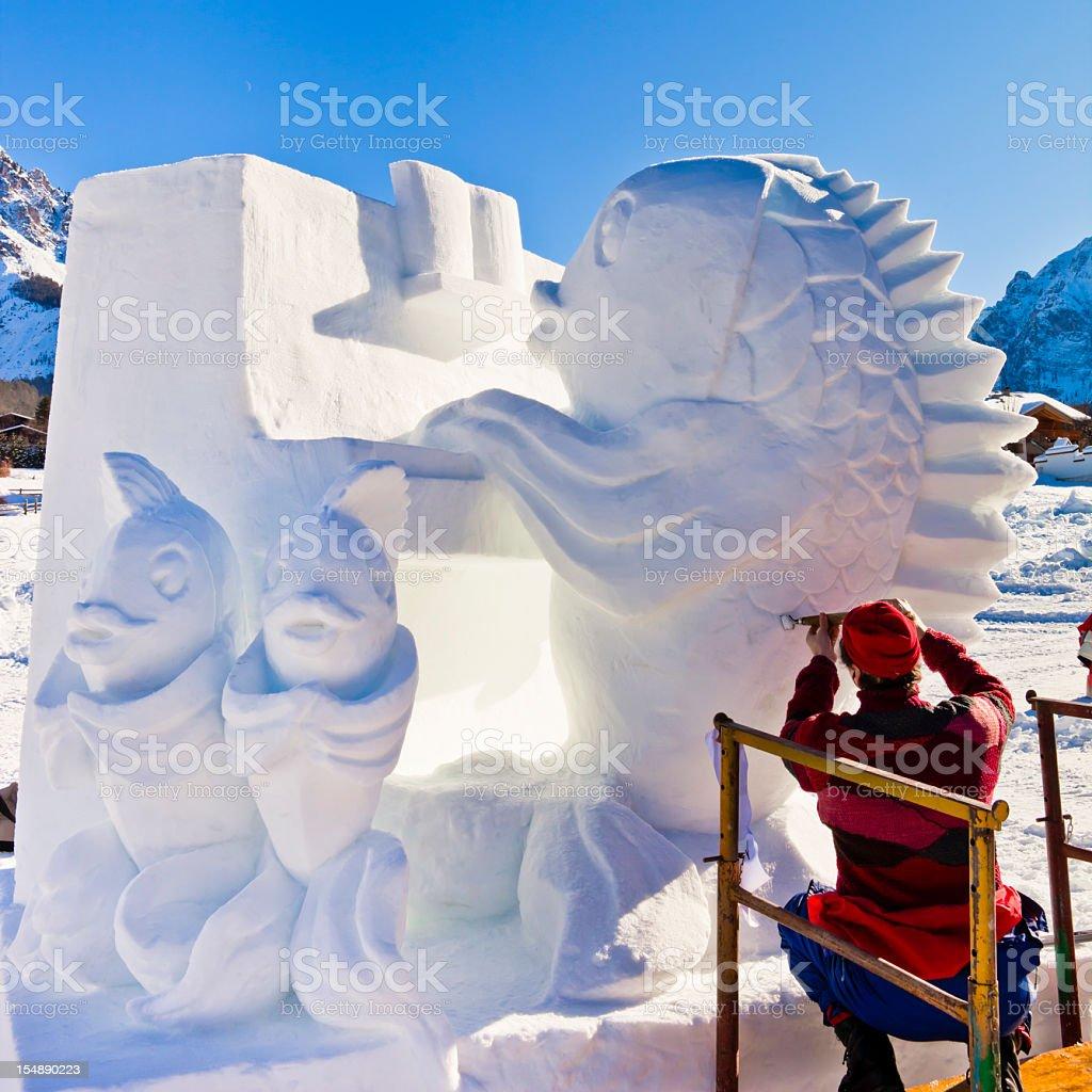 San Vigilio Snow Festival, Artist at Work stock photo