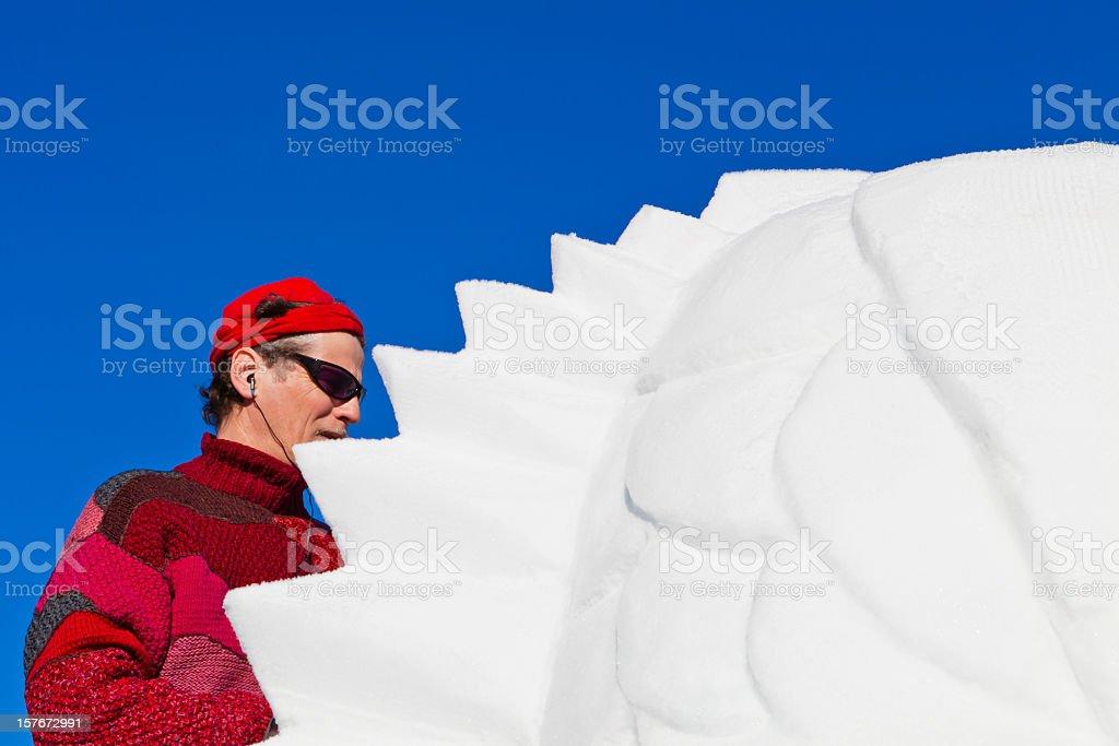 San Vigilio Snow Festival, Latvian Artist royalty-free stock photo