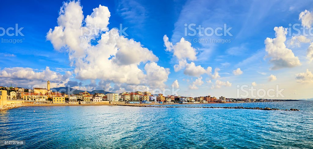 San Vincenzo beach and seafront panoramic view. Tuscany, Italy. stock photo