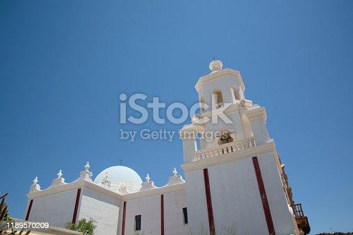 The San Xavier del Bac Mission on the Tohono O'odham Indian Reservation near Tucson, Arizona, USA.
