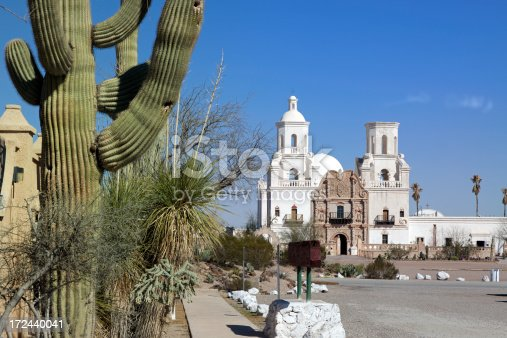The San Xavier del Bac Mission on the Tohono O'odham Indian Reservation near Tucson, Arizona, USA.