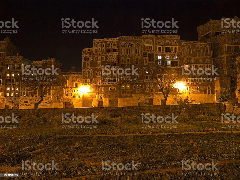 Sanaa at night royalty-free stock photo