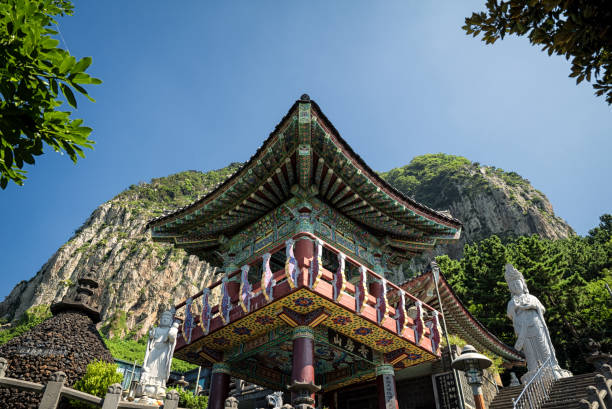 sanbangsa temple, jeju island, korea - jeju island stock photos and pictures