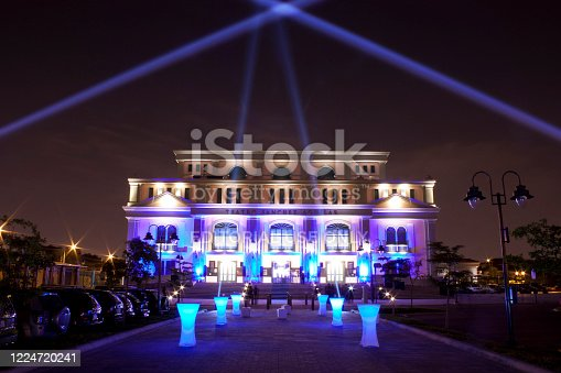 Guayaquil, Ecuador - May 13, 2020: View of Sanchez Aguilar Theater facade, the most newest theater in Guayaquil, Ecuador.