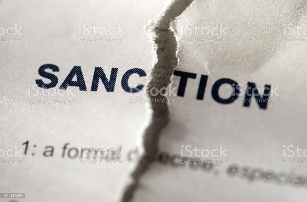 sanction in dictionary stock photo