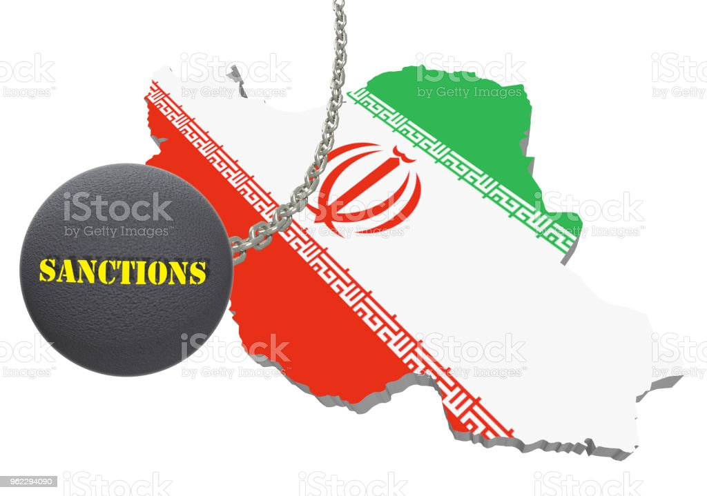 Sanctions against Iran, map of Iran. 3d illustration. Flying steel ball on chain Isolated on white background. stock photo
