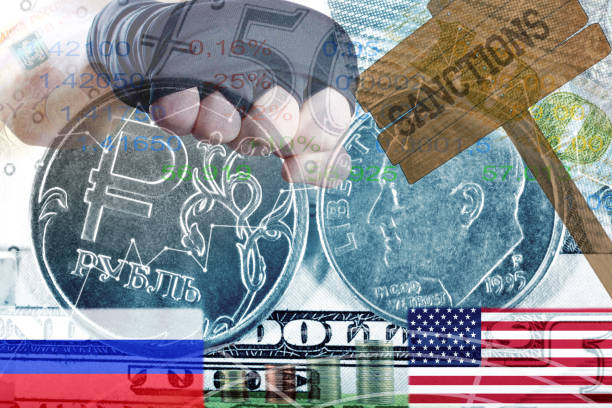 Sanctions against Russia. the Russian ruble against the US dollar. Sanctions against Russia. the Russian ruble against the US dollar. Confrontation of major powers. Aggression of Russia sanctions stock pictures, royalty-free photos & images
