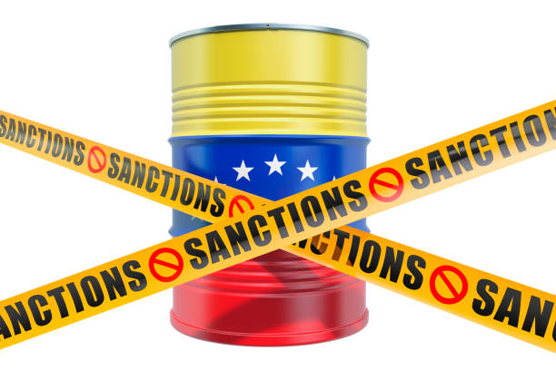 Sanctions against Venezuela, forbidden export of Venezuelan oil concept, 3D rendering isolated on white background Sanctions against Venezuela, forbidden export of Venezuelan oil concept, 3D rendering isolated on white background sanctions stock pictures, royalty-free photos & images