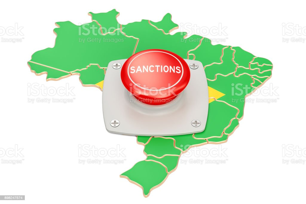 Sanctions button on map of Brazil, 3D rendering isolated on white background - fotografia de stock