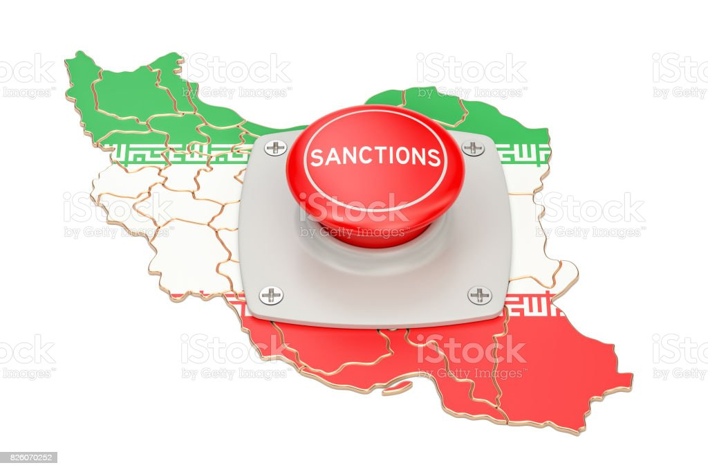Sanctions button on map of Iran, 3D rendering isolated on white background stock photo