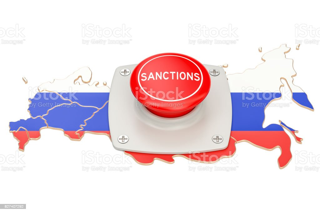 Sanctions button on map of Russia, 3D rendering isolated on white background stock photo