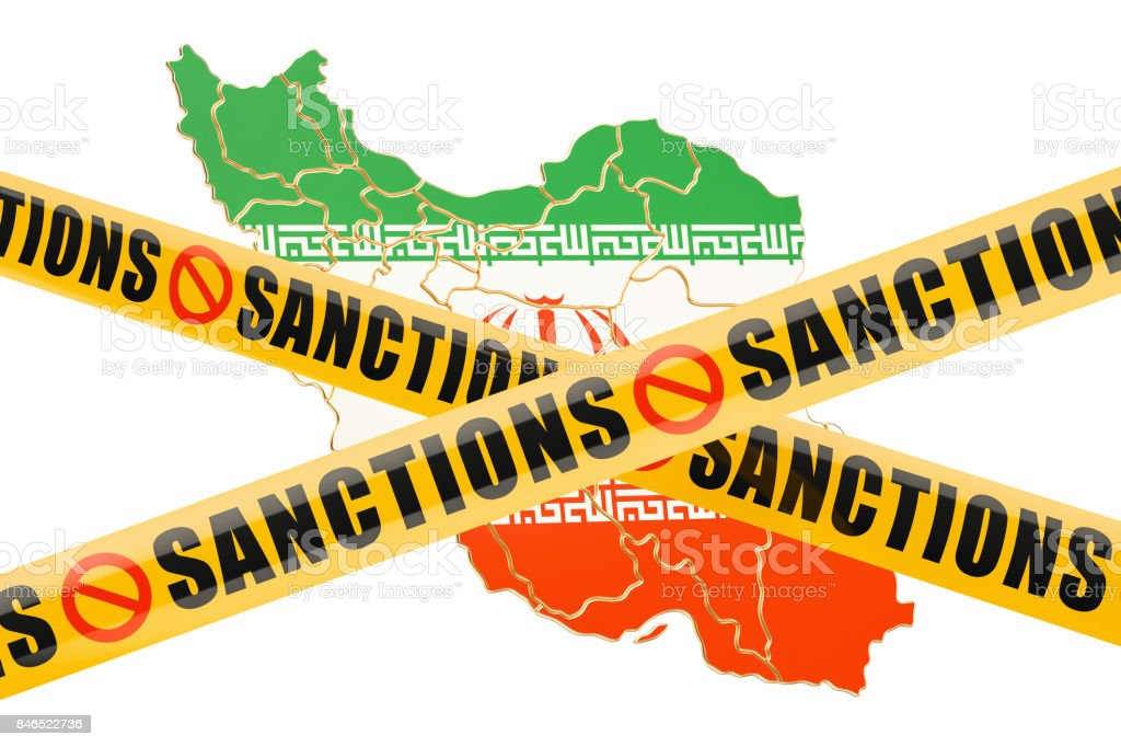 Sanctions concept with map of Iran, 3D rendering isolated on white background stock photo