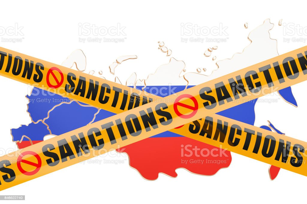 Sanctions concept with map of Russia, 3D rendering isolated on white background stock photo