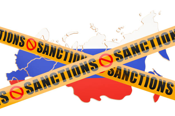 Sanctions concept with map of Russia, 3D rendering isolated on white background Sanctions concept with map of Russia, 3D rendering isolated on white background sanctions stock pictures, royalty-free photos & images