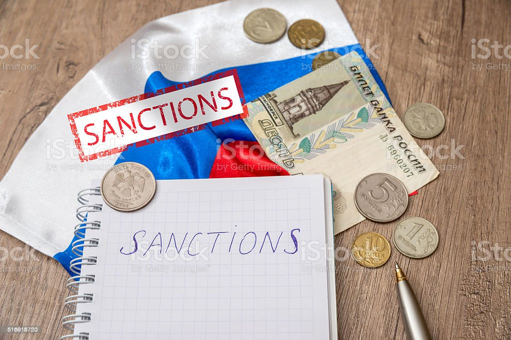 sanctions of russia stock photo