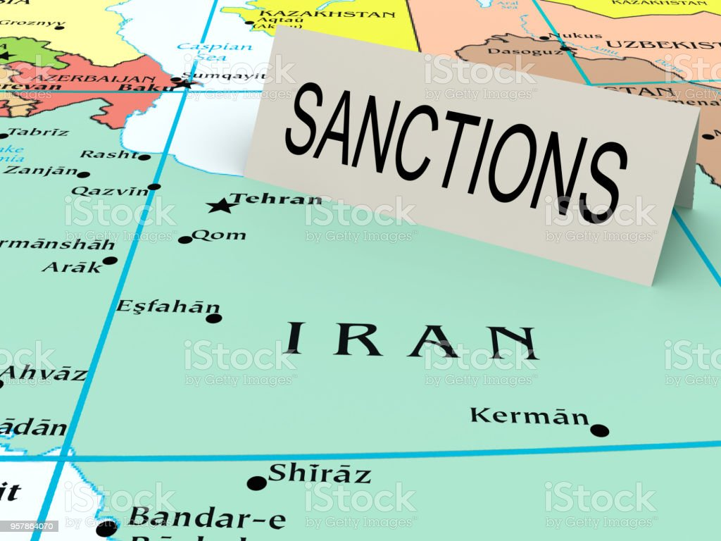 Sanctions paper card on map stock photo