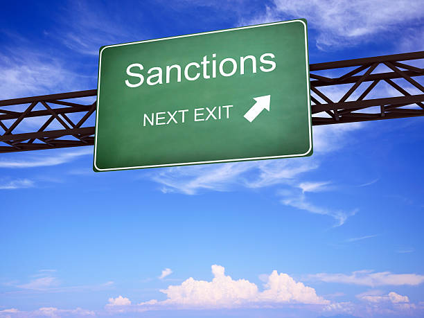 Sanctions Road Sign Dialog or Sanction? High resolution Digitally Generated Image sanctions stock pictures, royalty-free photos & images
