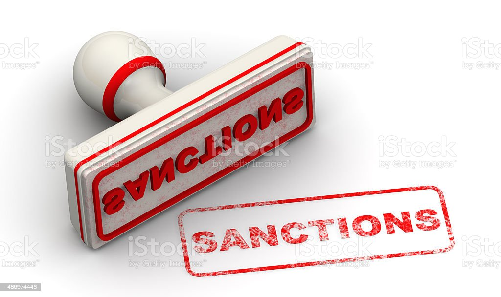 Sanctions. Seal and imprint stock photo