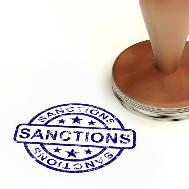 Sanctions Stamp Meaning Embargo Agreement Approval To Suspend Trade - 3d Illustration Sanctions Stamp Meaning Embargo Agreement Approval To Suspend Trade. Administrative Foreign Policy Action - 3d Illustration sanctions stock pictures, royalty-free photos & images