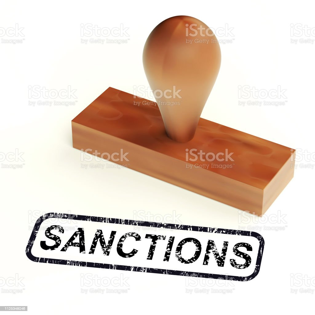 Sanctions Stamp Means Embargo Agreement Approval To Suspend Trade - 3d Illustration stock photo