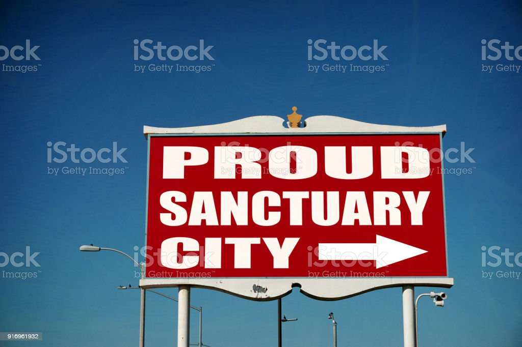 sanctuary city sign stock photo