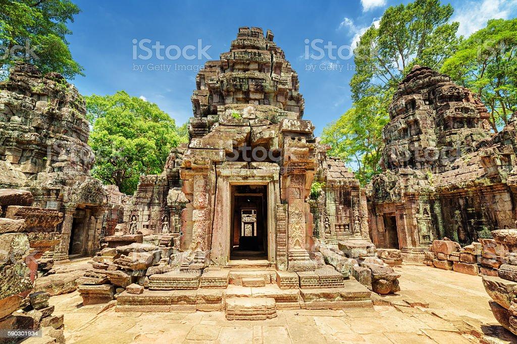 Sanctuary of ancient Ta Som temple, Angkor, Siem Reap, Cambodia royaltyfri bildbanksbilder