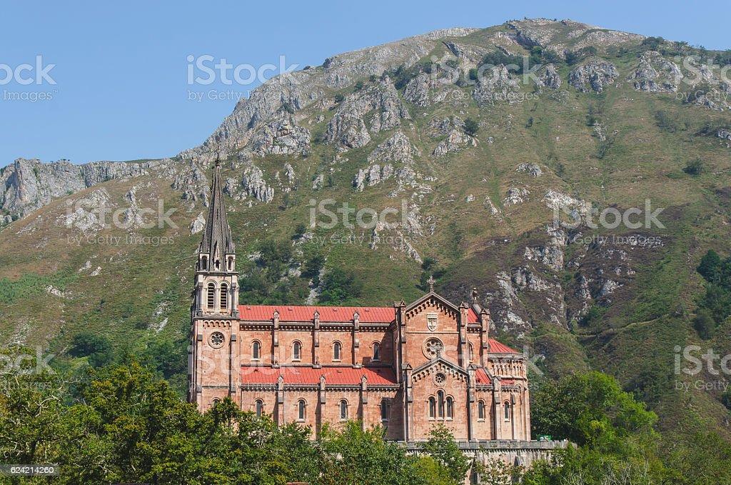 sanctuary of covadonga in asturias spain stock photo