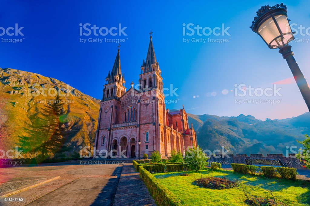 Sanctuary of Covadonga.Asturias. stock photo