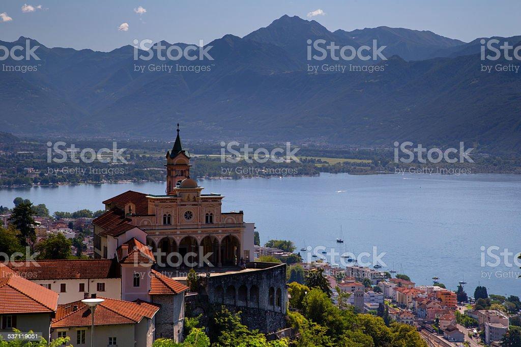 Sanctuary of Madonna del Sasso, Switzerland stock photo